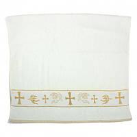 Крестильное полотенце - Крыжма хлопок 70 на 140 см. Турция цвет золото, фото 1