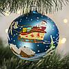 """Стеклянный шар 100 мм """"Дед Мороз на санях"""""""