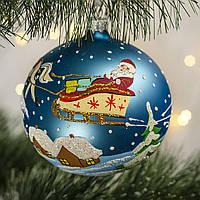 """Стеклянный шар 100 мм """"Дед Мороз на санях"""", фото 1"""