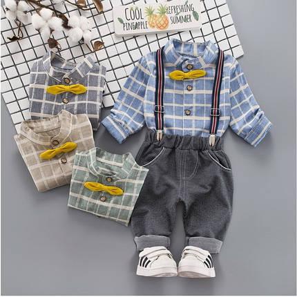 Костюм двойка нарядный на  мальчика нарядный с подтяжками 3-4 года голубой, фото 2