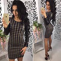 """Стильное женское платье с кожаными рукавами (жіноче плаття ) """"Табби"""""""