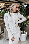 Женское белое вязаное платье-миди , фото 2