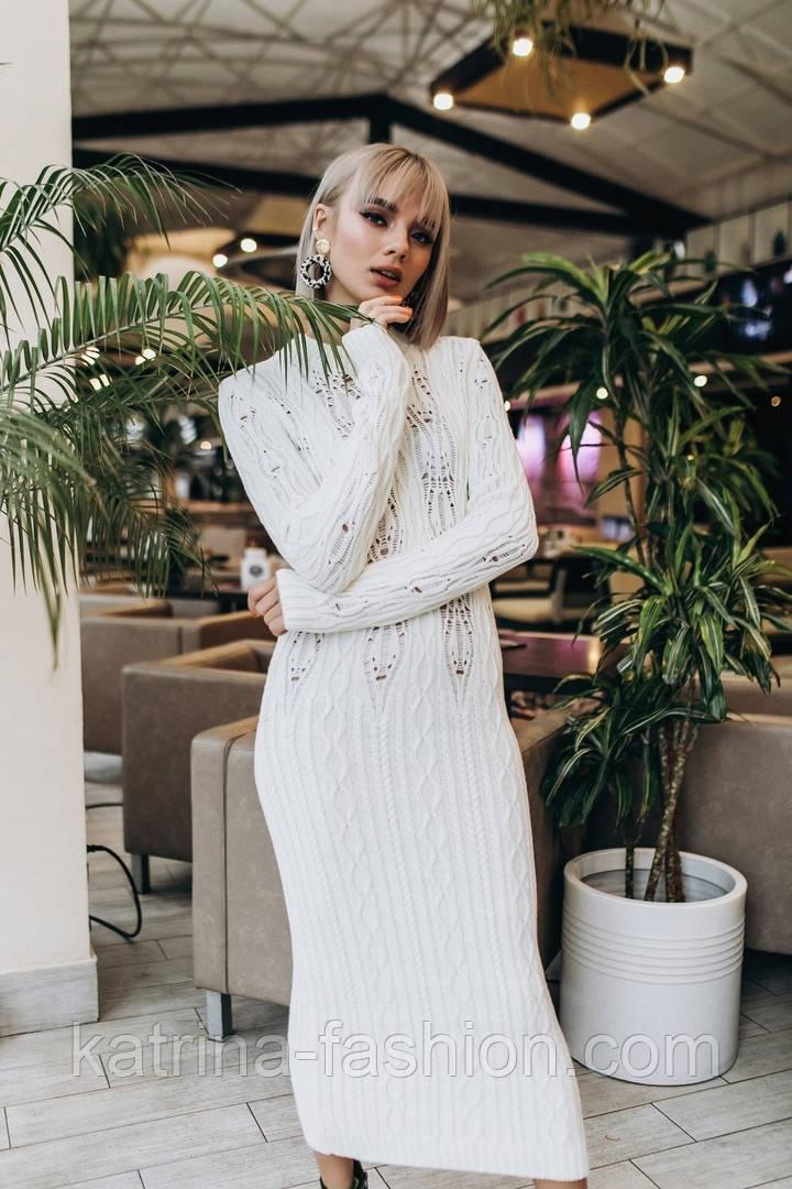 Женское белое вязаное платье-миди