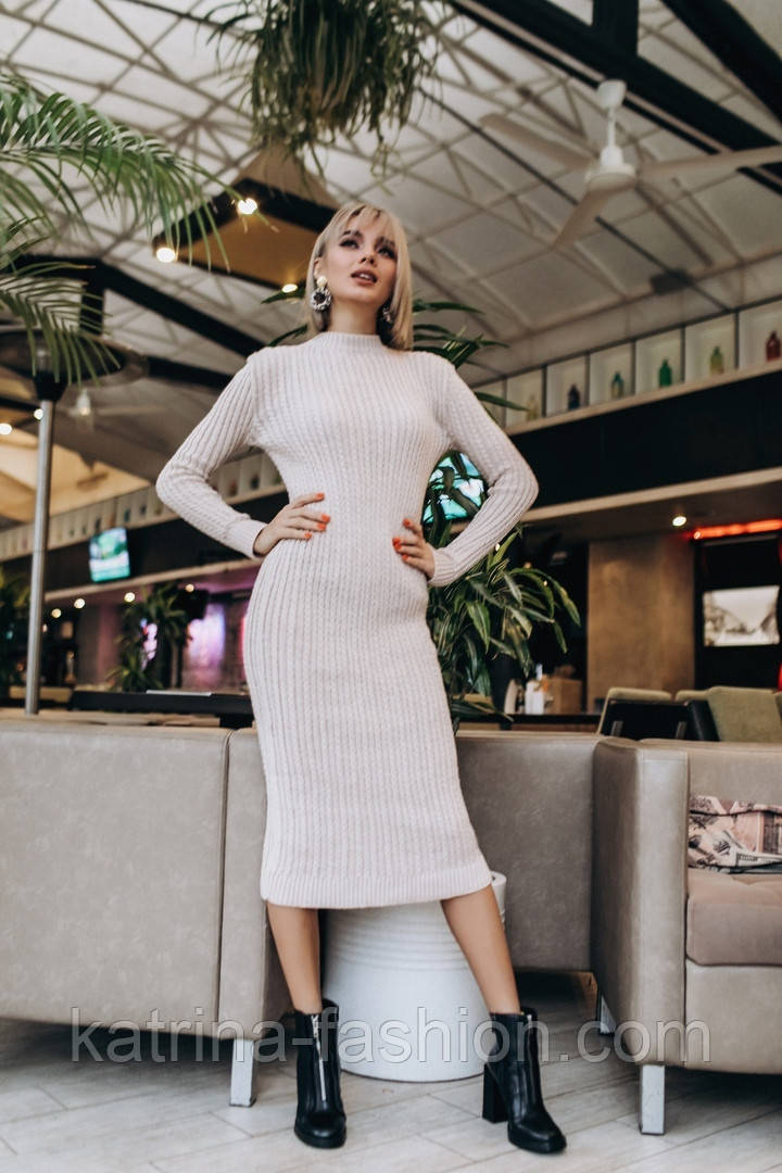 Женское вязаное платье косичка (3 цвета)