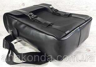 451-2 Натуральная кожа, Рюкзак городской для ноутбука 17 /мужской/унисекс/дорожный, черный, фото 2