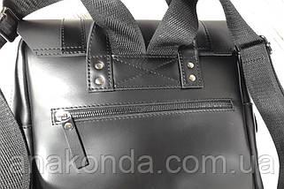 451-2 Натуральная кожа, Рюкзак городской для ноутбука 17 /мужской/унисекс/дорожный, черный, фото 3