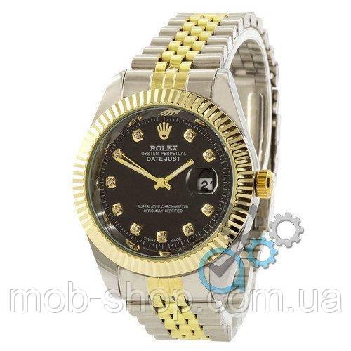 8ff6c318c229 Наручные Часы Rolex Date Just Silver-Gold-Black — в Категории