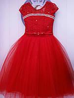 Бальное платье красное 6-7л