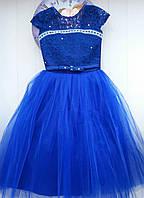 Бальное платье синее 6-7л