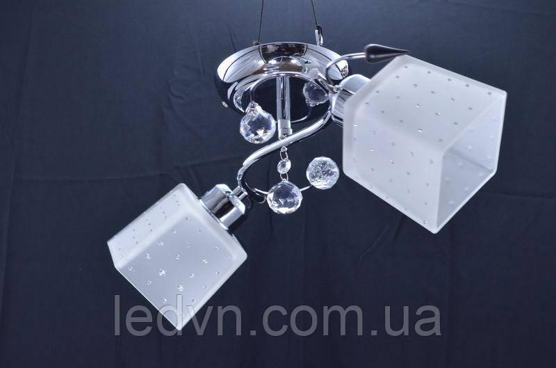 Припотолочная люстра на 2 лампы квадратные плафоны в хром никель