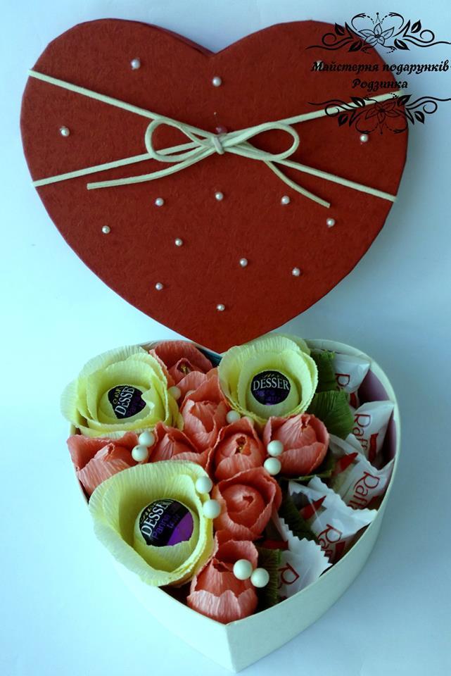 """Подарунковий набір солодкий Світ бокс """"Серце+рафаело"""""""