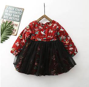 Нарядное детское платье на девочку утепленное бордовое, фото 2