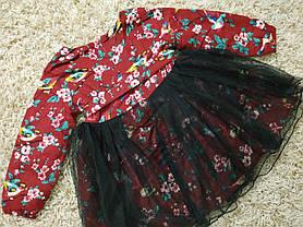 Нарядное детское платье на девочку утепленное бордовое, фото 3