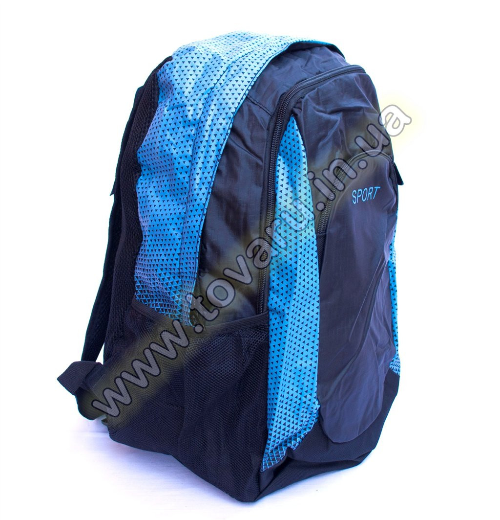 Оптом рюкзак спортивний - 8645 - Чорно-блакитний