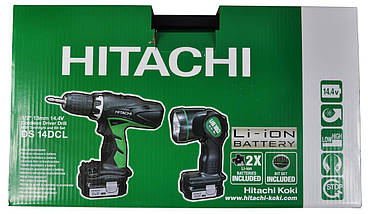 Дрель-шуруповерт HITACHI DS14DCL + фонарь + набор бит 100 шт, фото 2