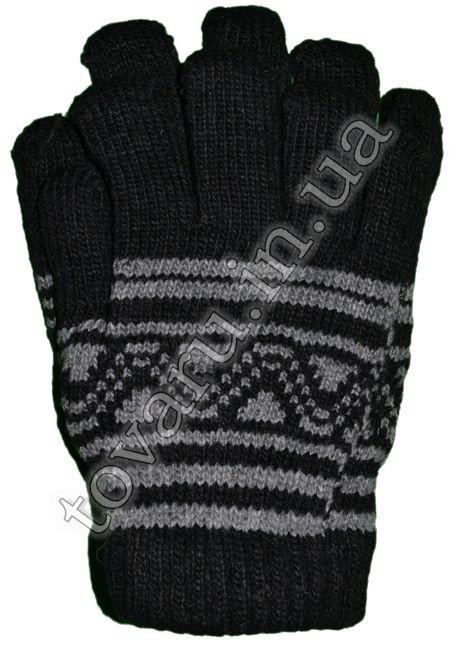 Оптом перчатки вязаные детские шерстяные двойные с узором - №39