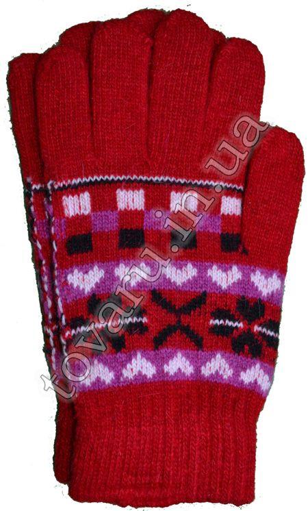 Оптом Перчатки вязаные женские шерстяные с узором - №27