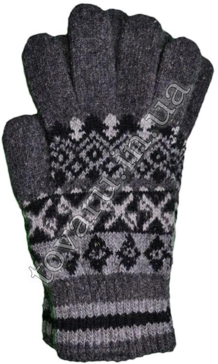 Оптом Перчатки вязаные мужские шерстяные с узором - №36