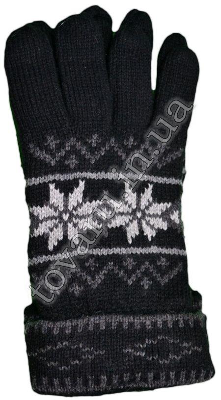 Оптом Перчатки вязаные мужские двойные шерстяные с узором и с флисовой подкладкой - №35