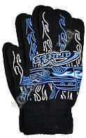 Оптом Перчатки вязаные подростковые акриловые с аппликацией черные - №52