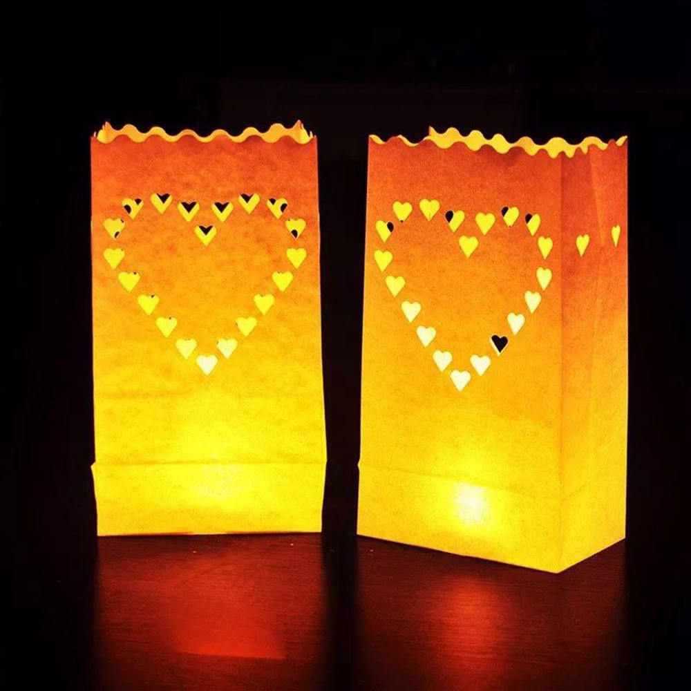 Большой Сердце Шаблон Чай Светлодержатель Luminaria Свеча бумаги Сумка для Рождества Свадебное Украшение - 1TopShop
