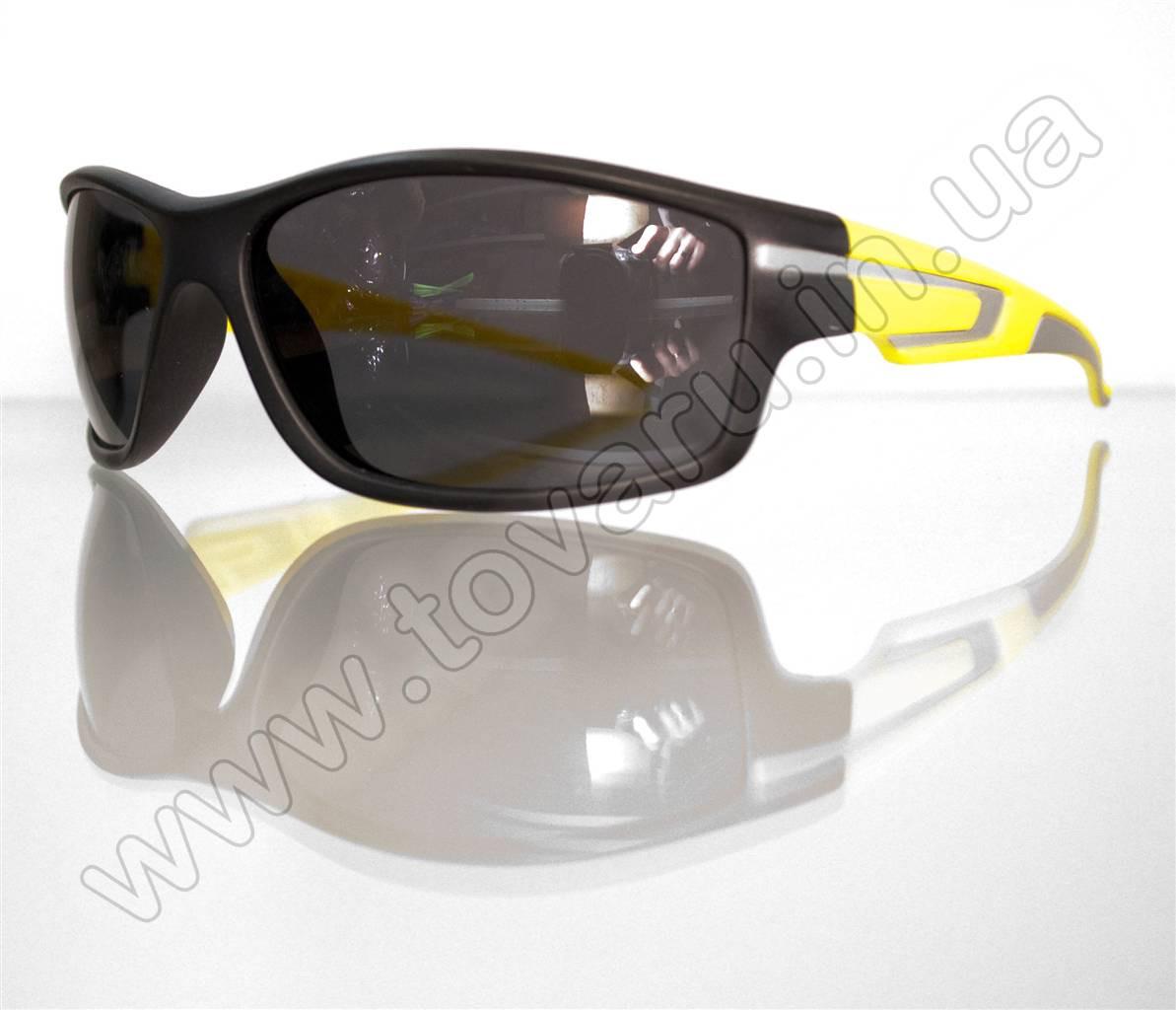 Оптом Очки мужские солнцезащитные спортивные - Черно-желтые - 2043
