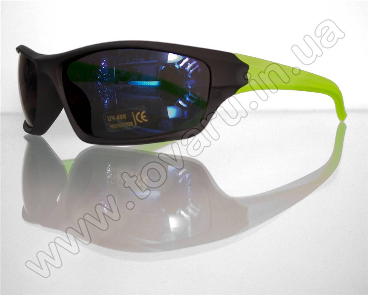 Оптом Очки мужские солнцезащитные спортивные - Черно-салатовые - T85