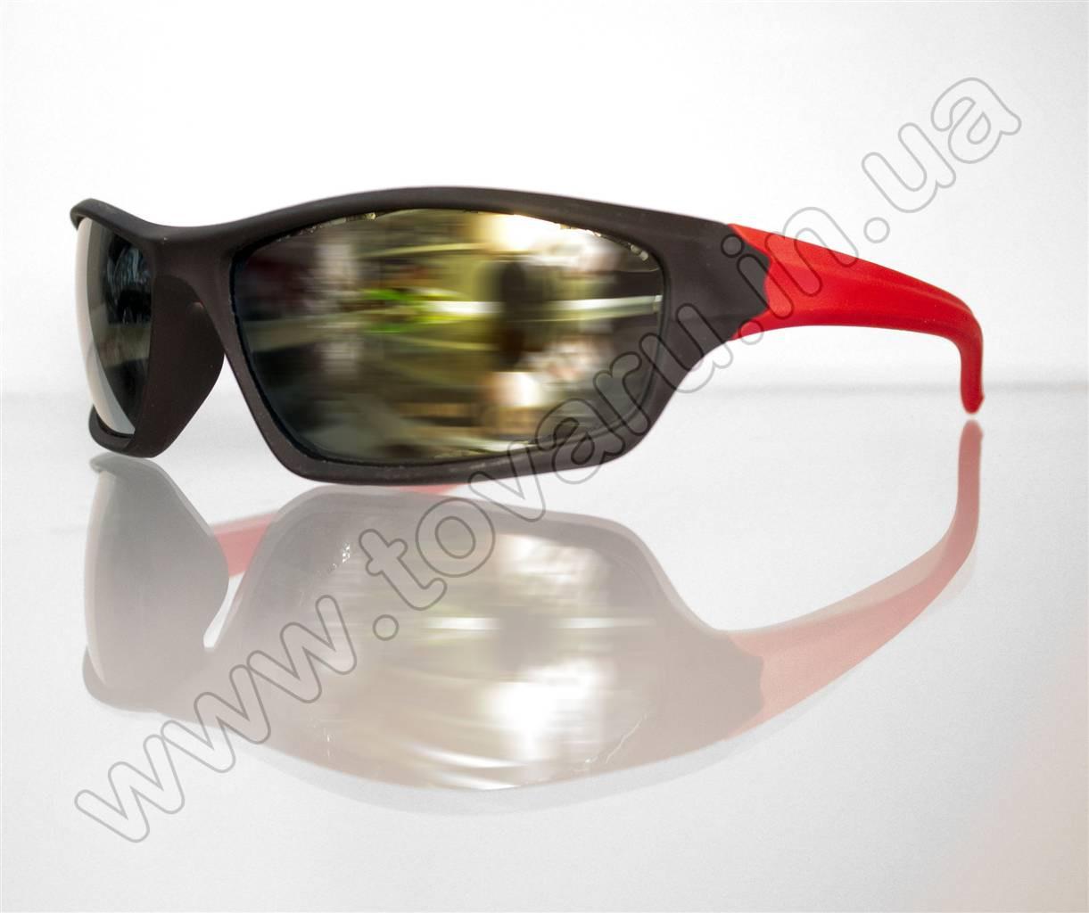 Оптом Очки мужские солнцезащитные спортивные - Черно-красные - T85