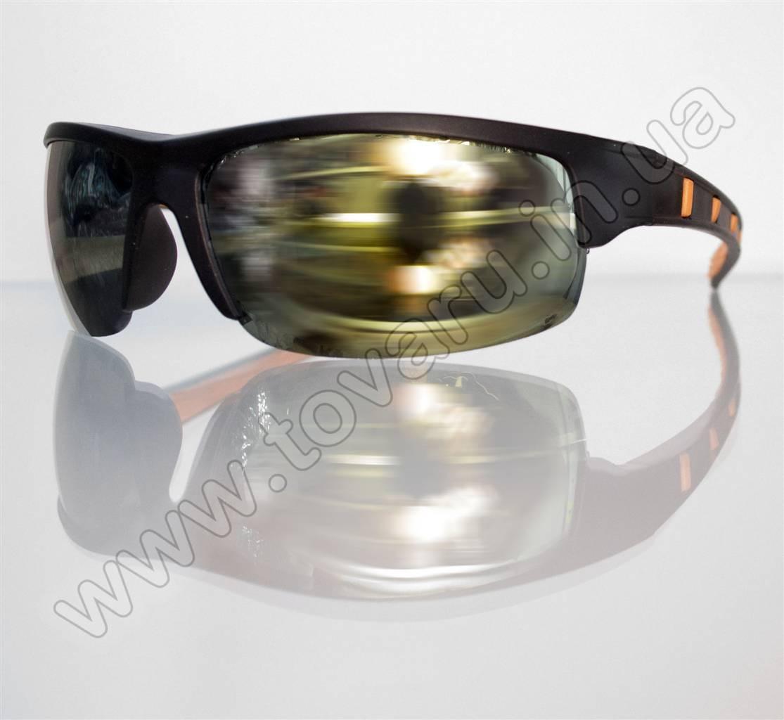 Оптом Очки мужские солнцезащитные спортивные - Черно-оранжевые - 9890