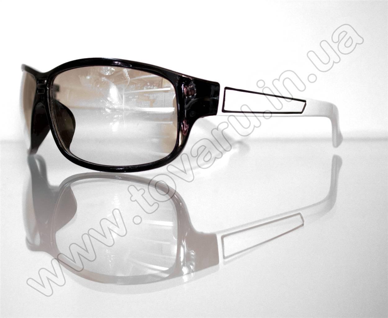 Оптом Очки мужские солнцезащитные спортивные - Черно-белые - 2091