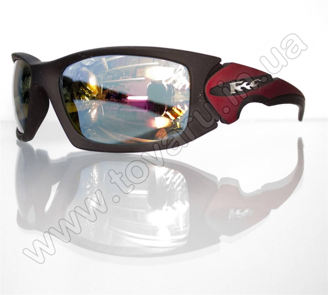 Оптом Очки мужские солнцезащитные спортивные - Черно-красные - 5064