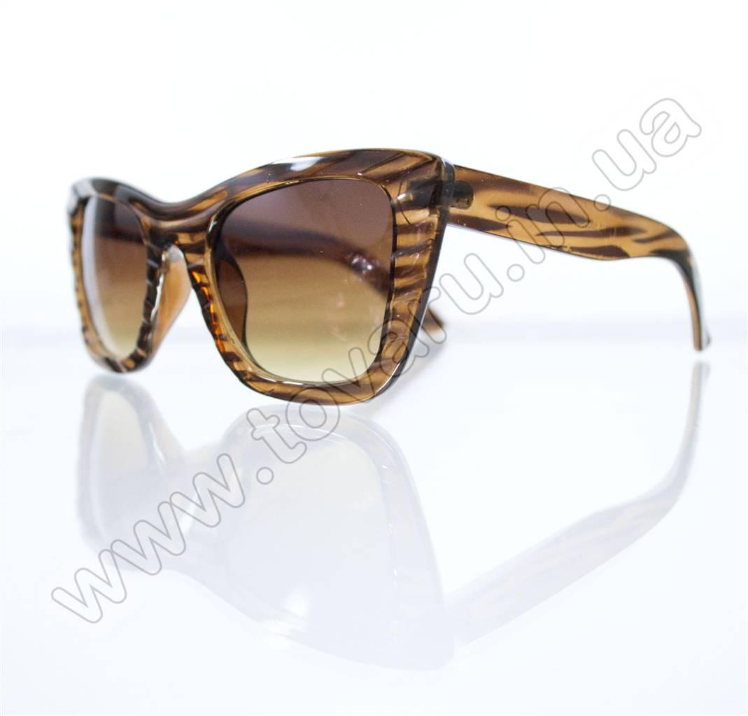 Оптом Очки женские солнцезащитные - Кошачий глаз - Коричневые - 3515