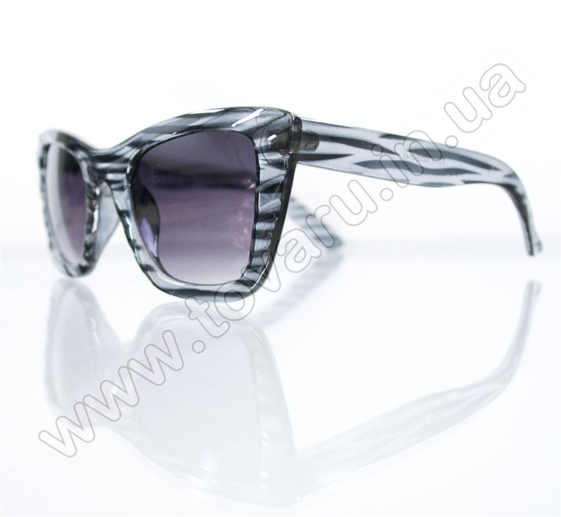 Оптом Очки женские солнцезащитные - Кошачий глаз - Черно-серые - 3515, фото 1