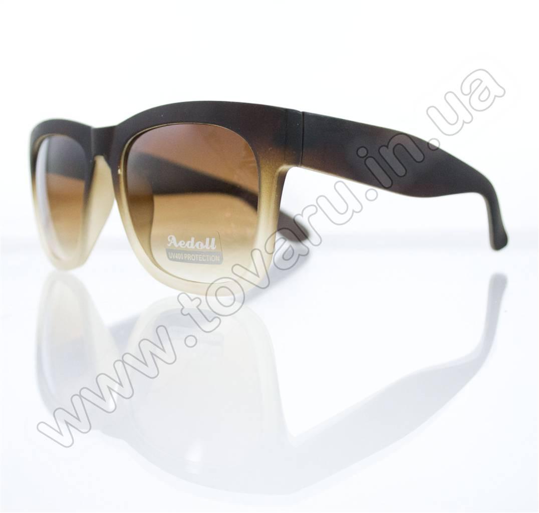 Оптом Очки унисекс солнцезащитные - Вайфарер (WAYFARER) - Коричневые - 023452