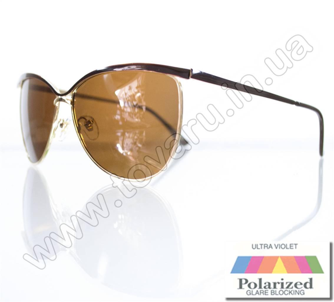 Оптом Очки женские солнцезащитные поляризационные - Коричневые (коричневая линза) - 015194