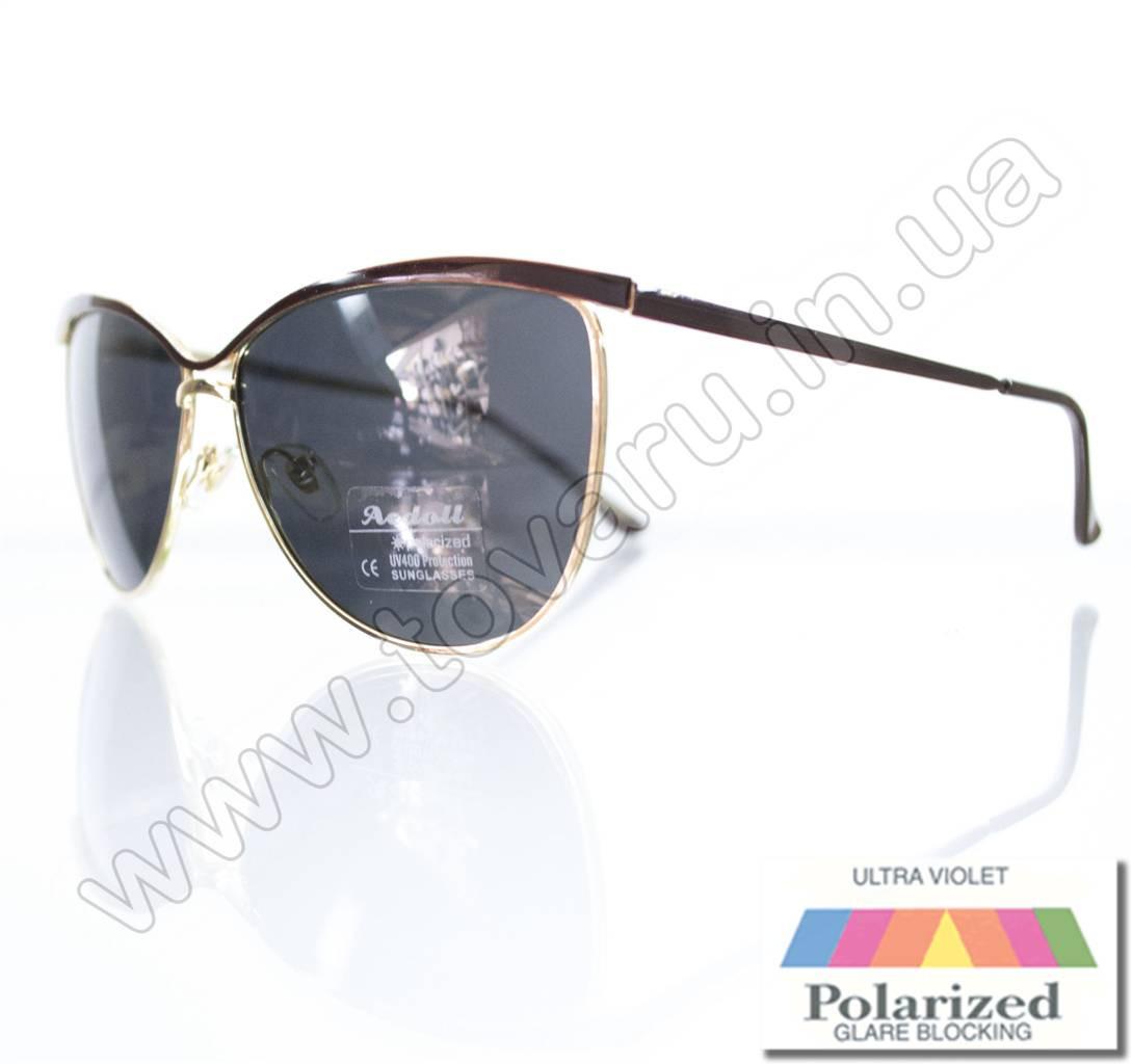 Оптом Очки женские солнцезащитные поляризационные - Коричневые (черная линза) - 015194