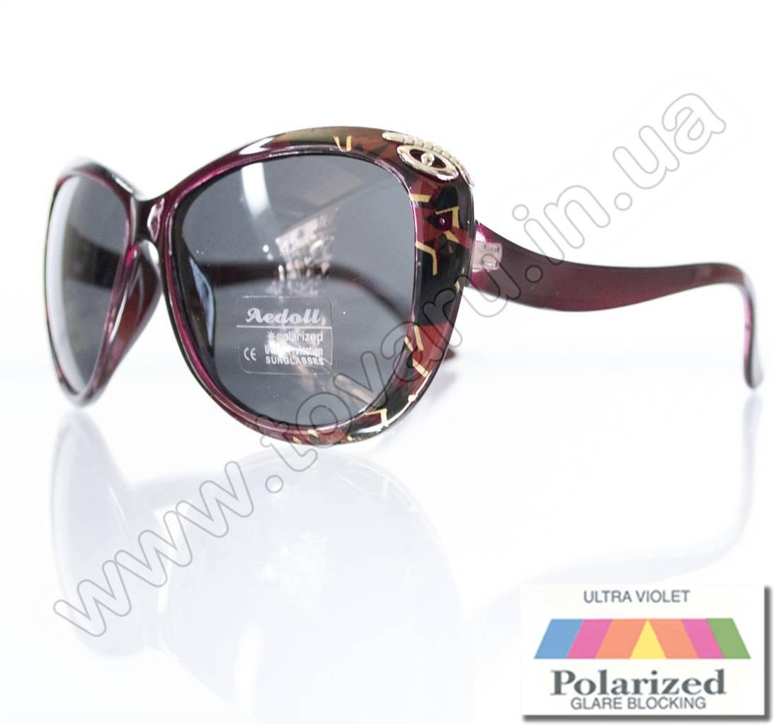 Оптом Очки женские солнцезащитные поляризационные - Бордовые - P521