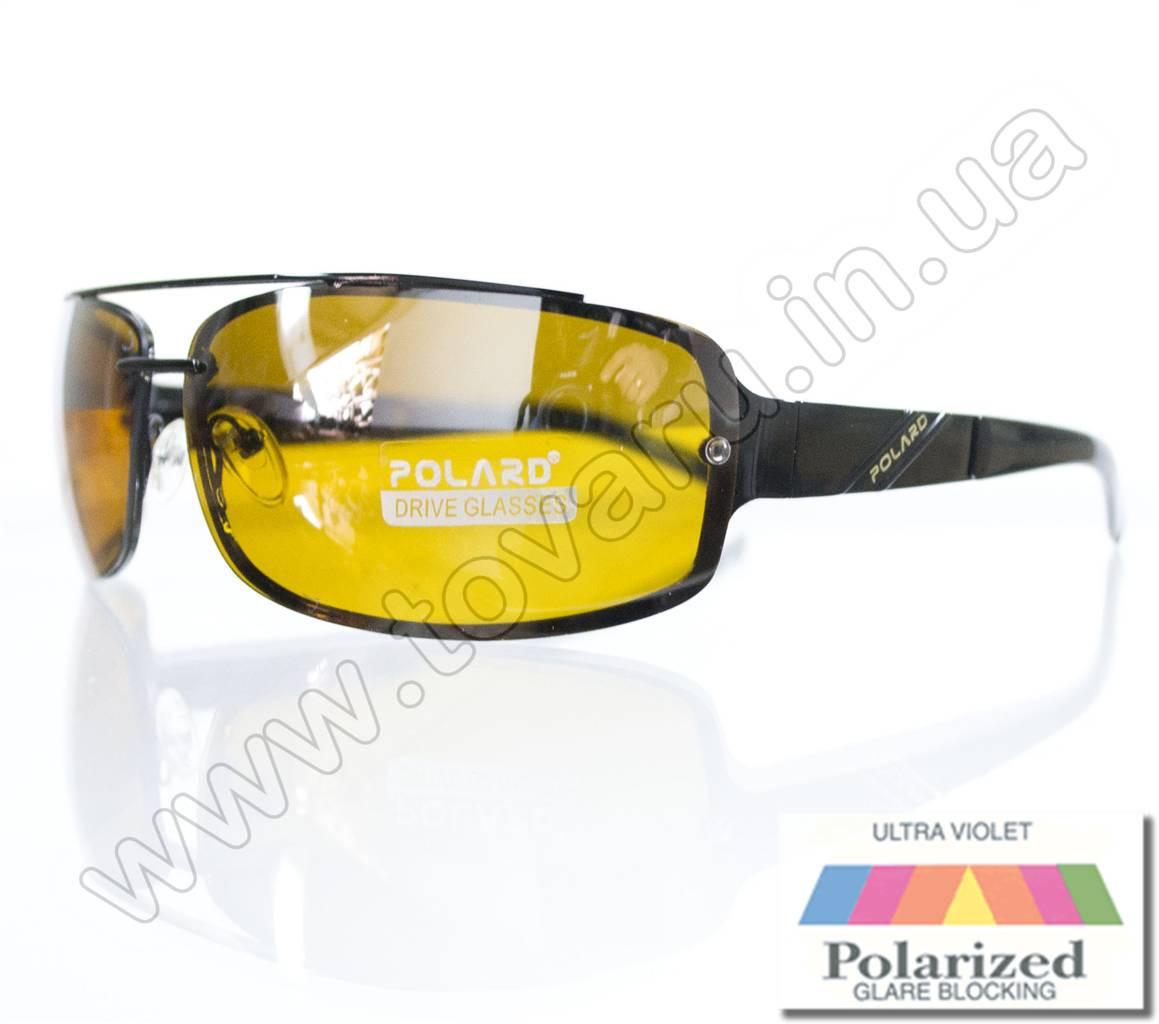 Оптом Очки мужские солнцезащитные поляризационные - Антифара - Черные (желтое стекло) - PA1068