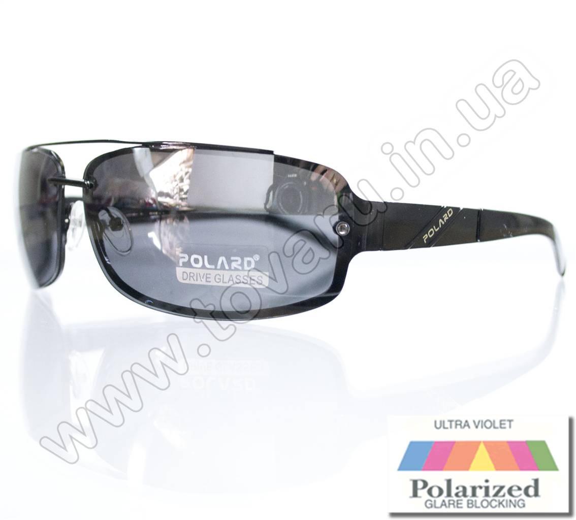 Оптом Очки мужские солнцезащитные поляризационные - Антифара - Черные (черное стекло) - PA1068