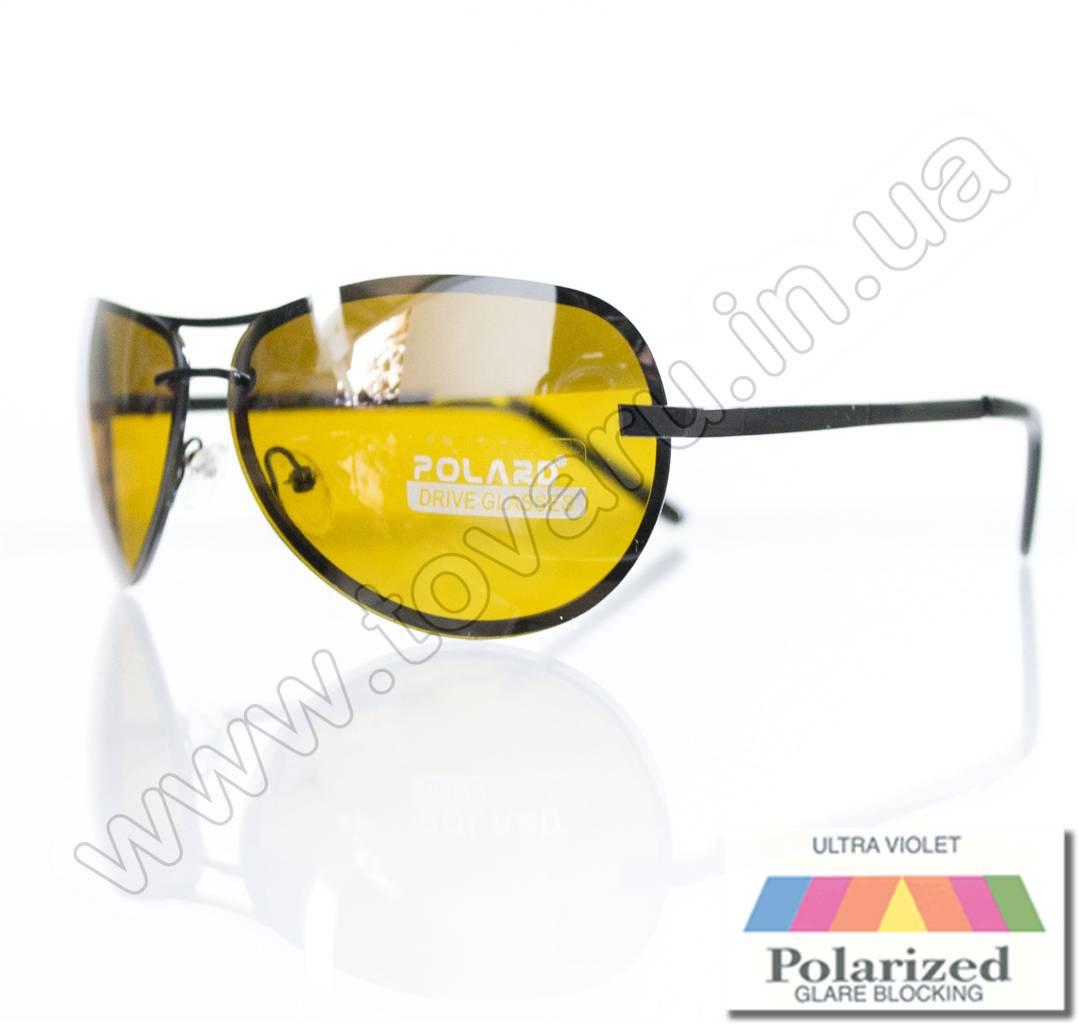 Оптом Очки унисекс солнцезащитные поляризационные - Антифара - Черные (желтое стекло) - PA09004