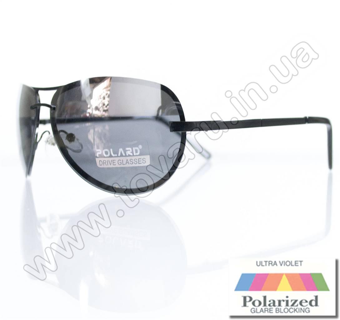Оптом Очки унисекс солнцезащитные поляризационные - Антифара - Черные (черное стекло) - PA09004