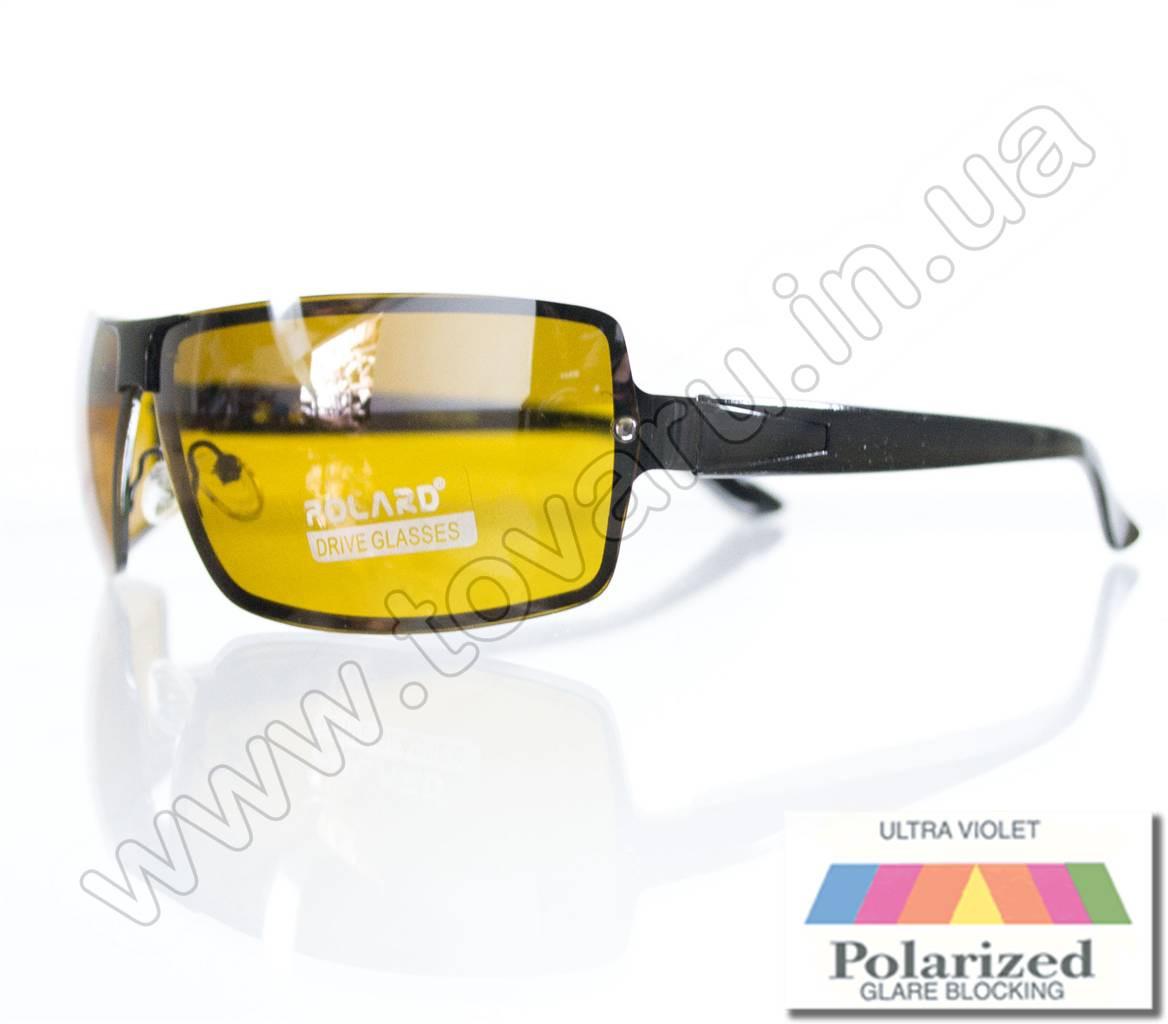Оптом Очки мужские солнцезащитные поляризационные - Антифара - Черные (желтое стекло) - PA11012
