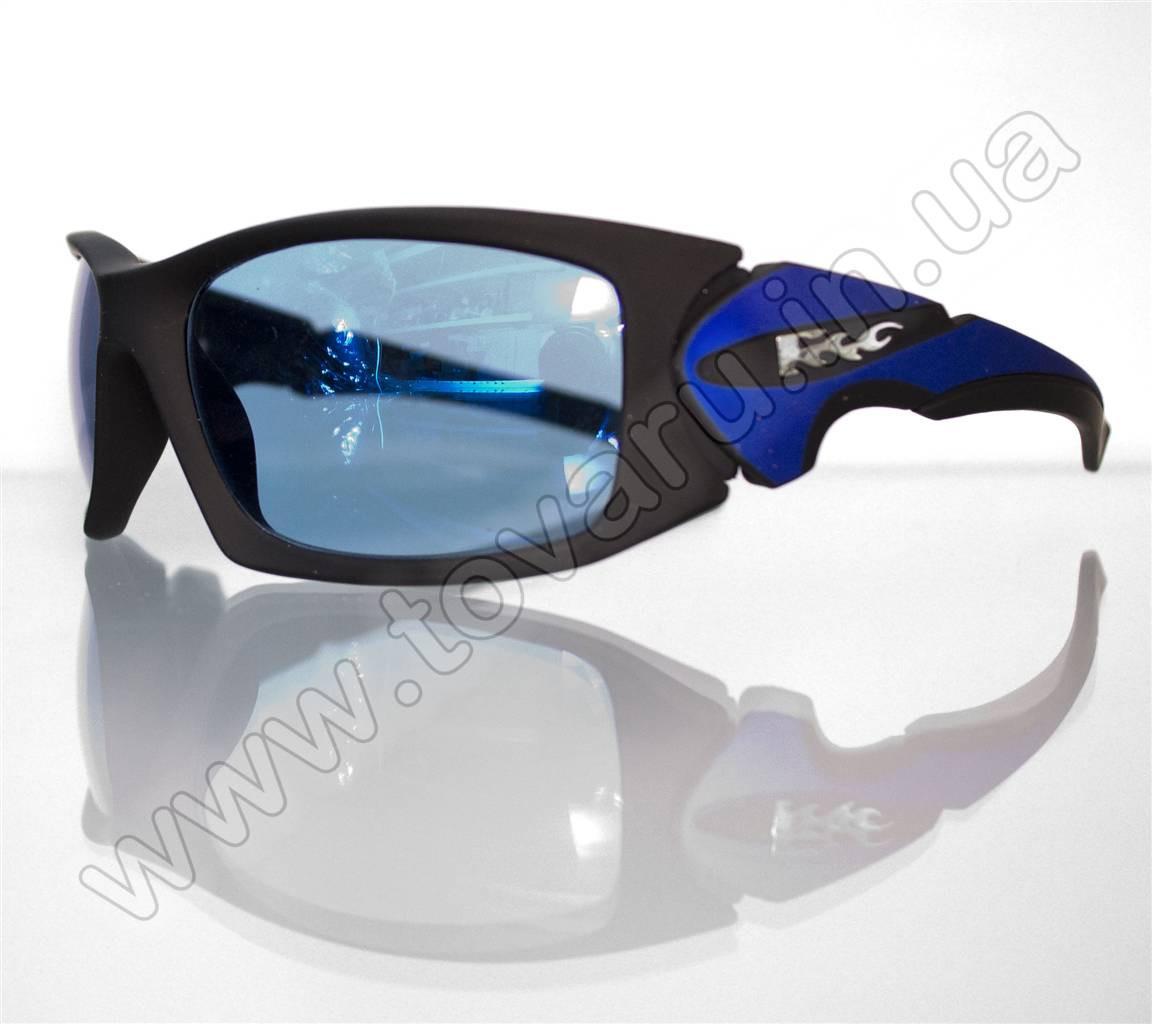 Оптом Очки мужские солнцезащитные спортивные - Черно-синие - 5064