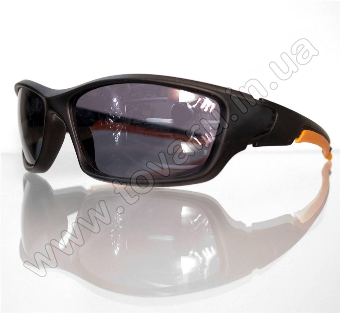 Оптом Очки мужские солнцезащитные спортивные - Черно-оранжевые - 9892