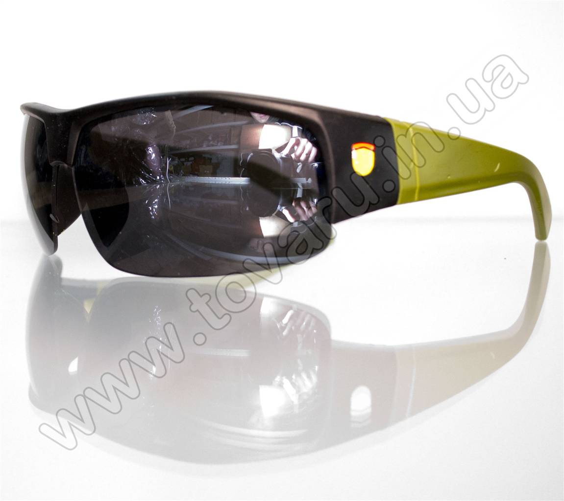 Оптом Очки мужские солнцезащитные спортивные - Черно-зеленые - SP306