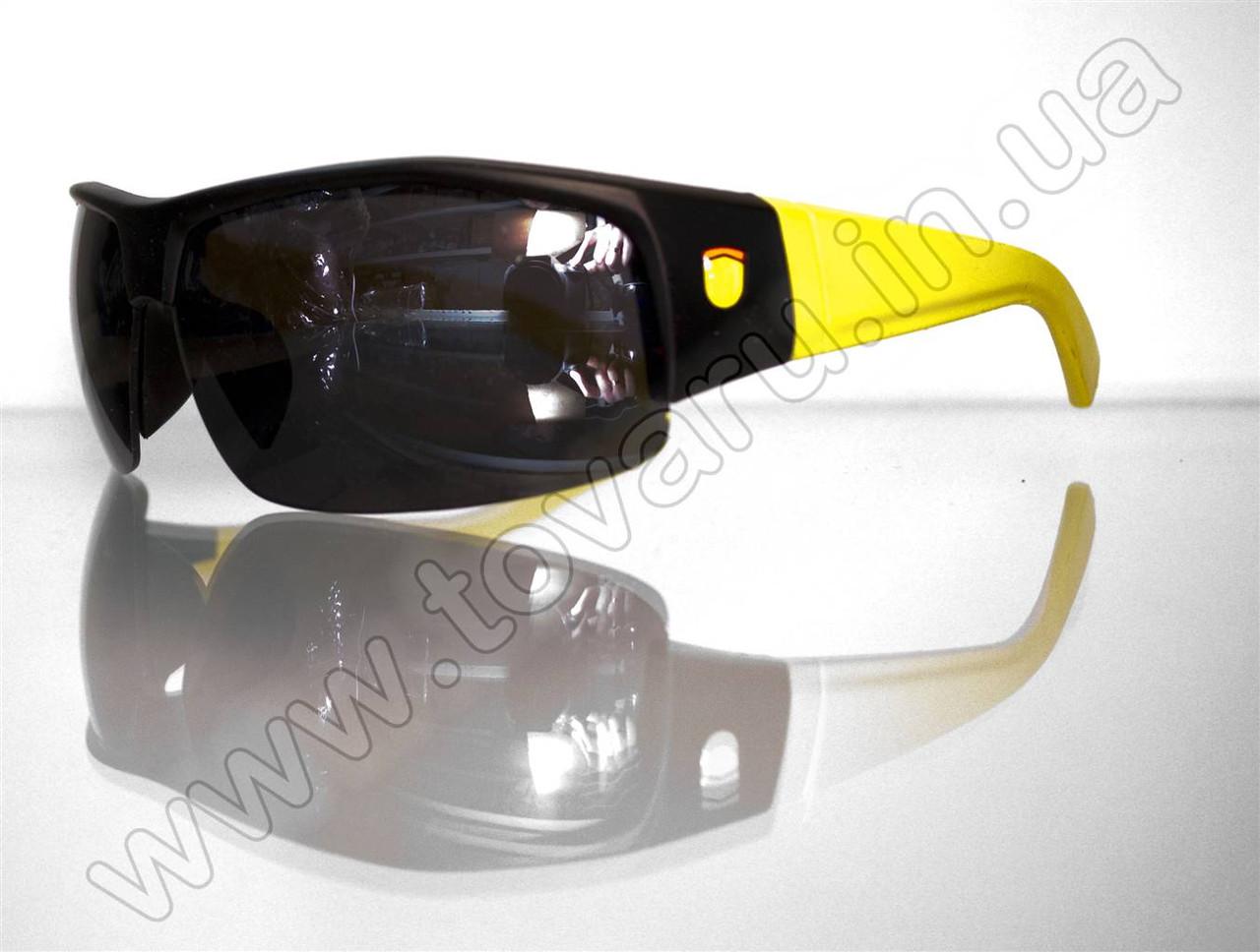 Оптом Очки мужские солнцезащитные спортивные - Черно-желтые - SP306