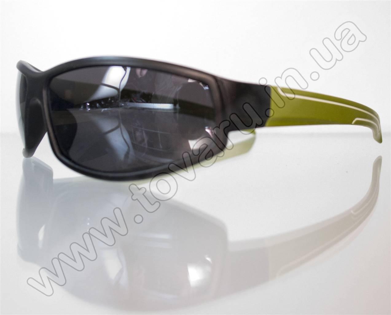 Оптом Очки мужские солнцезащитные спортивные - Черно-зеленые - 2093
