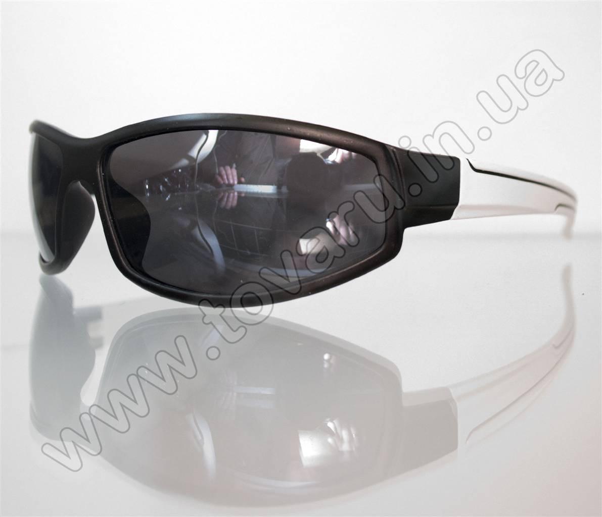 Оптом Очки мужские солнцезащитные спортивные - Черно-белые - 2093