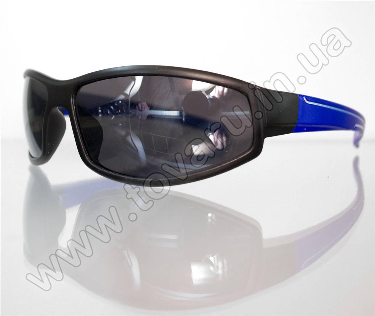 Оптом Очки мужские солнцезащитные спортивные - Черно-синие - 2093