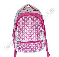 Оптом 1067 - Рюкзак сердечки - Серо-розовый